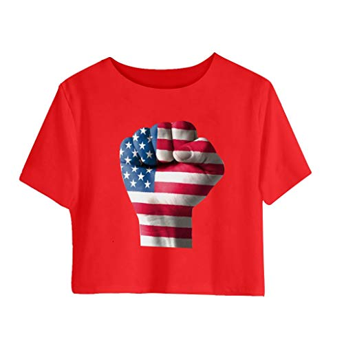 Womens American Flag Shirt Short Sleeve Crop Tops Triumph Fist Graphic 4th of July Crewneck T Shirts Patriotic Summer Casual Soft Tee Blouses