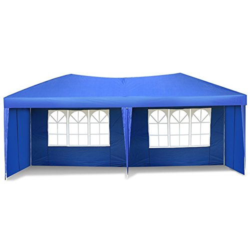US PIEDLE 10 x 20ft Easy Pop up Canopy Tent Large Heavy Duty Tent Folding Instant Canopy Gazebo Wedding Party Commercial Outdoor Shelter, 4 Removable Sidewalls and Carry Bag Waterproof (Heavy Duty Lightweight Instant Steel)
