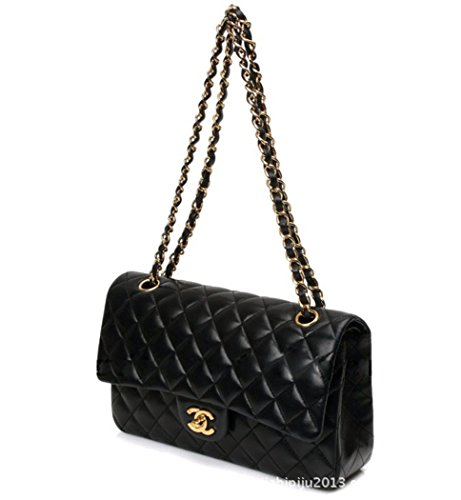 Handbag Quilted Chain (Fashion Women Double-use Cross Body Chain Bag Quilted Flap Purse Leather Chain Shoulder Bag Black (large))