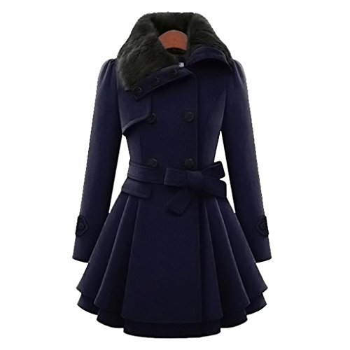 para Trenca Trenca de Grueso Invierno Delgada Cálido Azul KaloryWee Mujer Mujer Abrigo Largo Chaqueta Parka 75dngnqP0