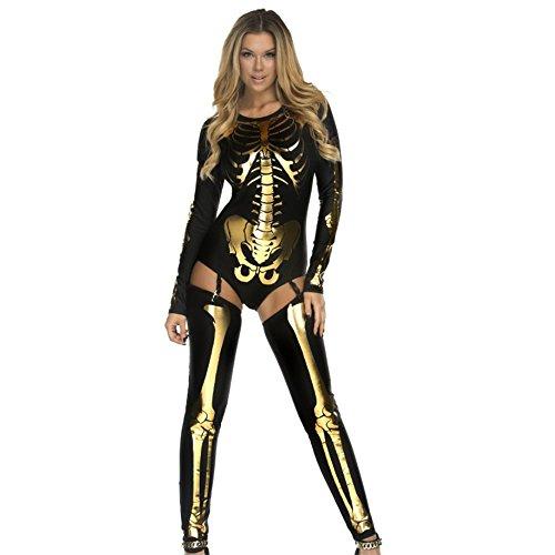 Nice Costumes Ideas (Sansay Halloween cosplay costume skeleton zombie uniform. (Black gold))
