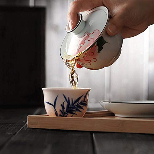 Exquisite Tea Cups Saucers Set Set Coffee Cup with Cover Tea Cup Tea Bowl Hand Painted Ceramics Teacup Small Capacity Manual Make Tea Cup Tea Set 150ML by Kinue (Image #2)