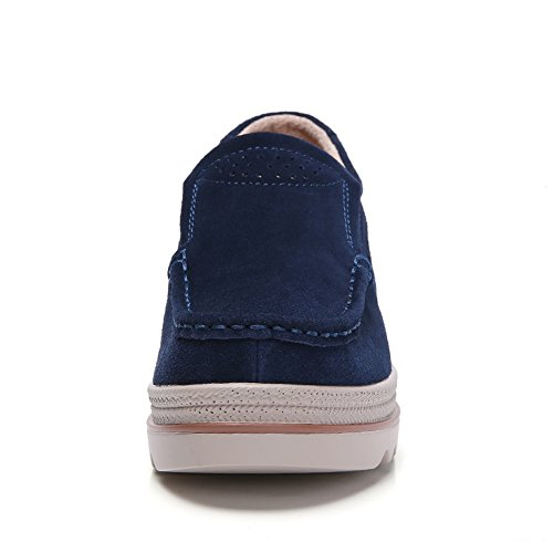 Navy Loafers 1 Blue Slip Sneakers On Platform Suede Ykh Wedge Women Shoes For Comfortable Work I7wxOgqg