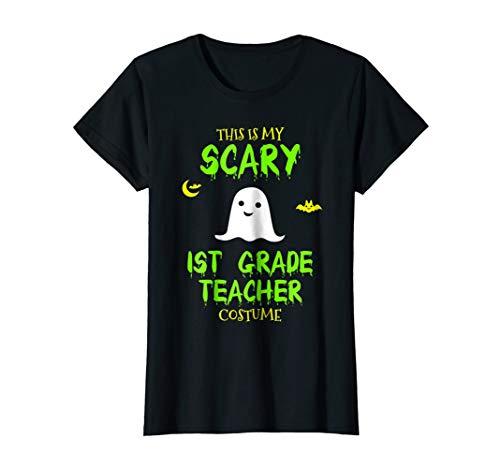 Womens Scary 1st First Grade Teacher Costume Halloween T-Shirt Small Black -