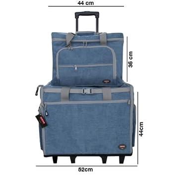 Maleta trolley Azul con clasificadores para máquina de coser con departamentos para accesorios: Amazon.es: Hogar