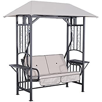 Outsunny 2 Person Patio Swing Chair W/ Canopy Shade   Beige