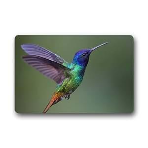 Custom lavable Felpudo beautiful Hummingbird interior/al aire libre Felpudo 30(L) X 18(W) pulgadas