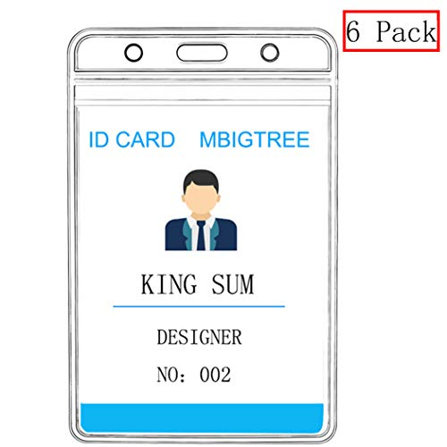 Vertical ID Badge Holders Sealable Waterproof Clear Plastic Holder, Fits RFID/Proximity/Badge Swipe Cards or Credit Card/Driver