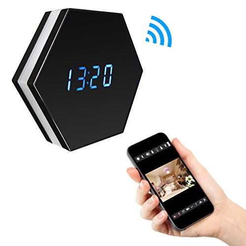 PANNOVO WIFI Spy Camera Alarm Clock HD 1080P Wireless