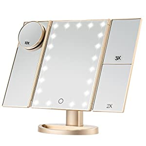 Best Epic Trends 41VSolgK5IL._SS300_ Magicfly Vanity Mirror Lighted Makeup Mirror 10X 3X 2X 1X Magnifying Mirror with 21 LED Lights, Trifold Mirror with…