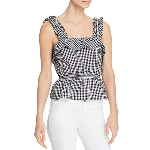 7 For All Mankind Women's Ruffle Strap Top Black/White Large
