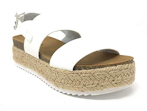 - SODA Women's Open Toe Ankle Strap Espadrille Sandal (5.5, Kazoo White)