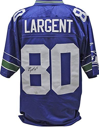 Reebok Blue Authentic Autographed Jersey (Seahawks Steve Largent Hof 95 Autographed Signed Blue Reebok Jersey Fanatics Coa #A310431 - Certified Authentic)