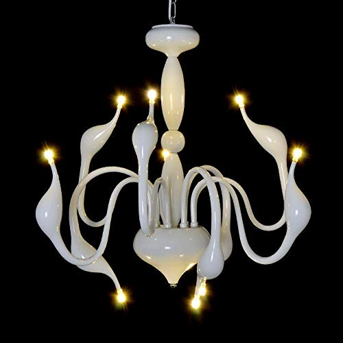 FidgetGear Modern Swan LED Pendant lamp Ceiling Light Chandelier Living Room Lighting Φ88cm White + LED Bulbs by FidgetGear (Image #6)
