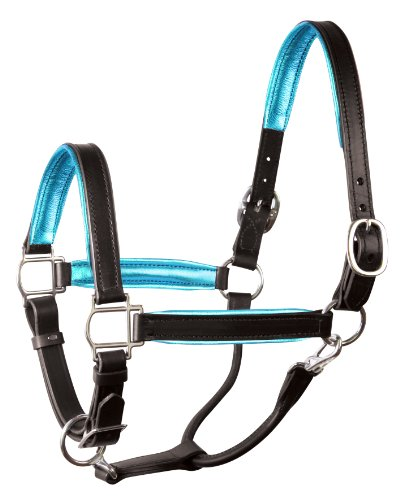Perri's Leather Metallic Padded Leather Halter, Horse, - Halters Padded Horse