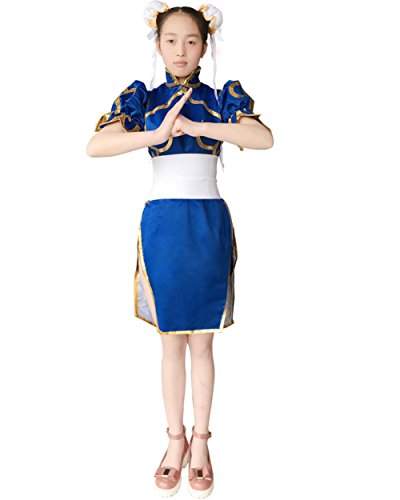 Double Villages Superior Street Fighter Chun Li Cosplay Costume Chun Li Blue Dress Anime Street Fighter Cosplay Costume Lolita Girls Dress -