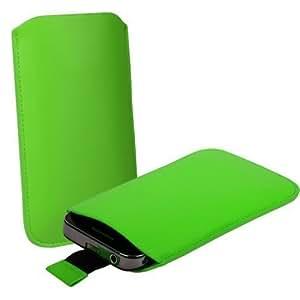 Shop4 verde funda de piel con pestaña para Sony Ericsson Xperia Play PSP teléfono móvil