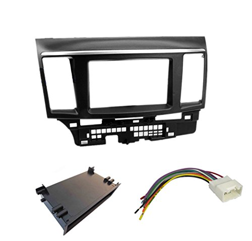 Single Double Din Car Stereo Radio Dash Kit for 2007-2013 Mitsubishi Lancer Fascia Facia Plate Install Kit
