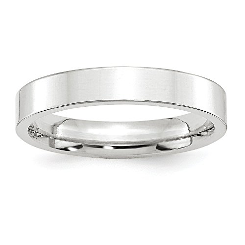 14k White Gold 4mm Standard Flat Comfort Fit Band Size 7 by Saris and Things