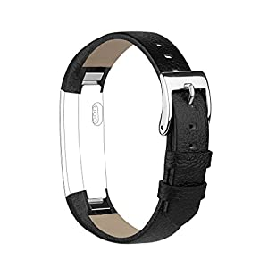Vancle Band Compatible with Fitbit Alta/Fitbit Alta HR 2017 Leather Wristband Adjustable Replacement Accessories Strap with Buckle for Fitbit Alta and Fitbit Alta HR