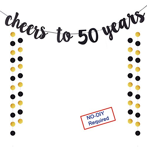 Cheers to 50 Years Gold Glitter Banner For Adult 50th Birthday Party Wedding Anniversary Party ()