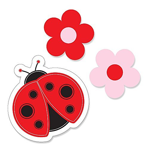Ladybug Cut Outs (Modern Ladybug - DIY Shaped Baby Shower or Birthday Party Cut-Outs - 24 Count)