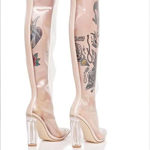 48 L Hauts Mary Ballroom Western Bottes Cheville White yc Biker Pointu Pu Automne Femmes taille 34 Transparent Formelle Talons OPrnOqwxT1