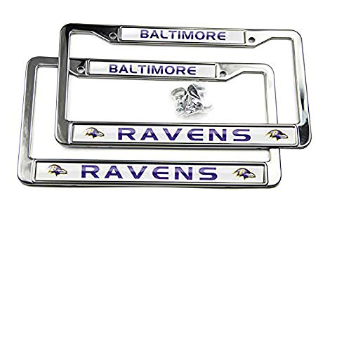 MT-Sports Store Football Team 2 Pcs 4 Holes Car Licenses Plate Frames Stainless Steel (Baltimore Raven)