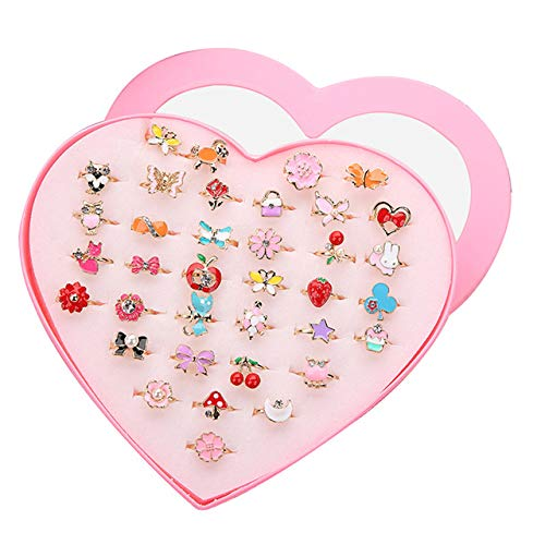SUNMALL 36 pcs Little Girl Adjustable Rings in Box, No Duplication, Children Kids Jewelry Rings Set with Heart Shape Display Case, Girl Pretend Play and Dress up Rings for Kids