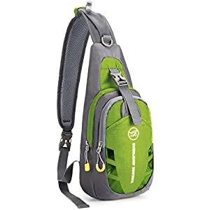 WildX Casual Cross Body Bag Sling Bag Chest Pack with Adjustable Shoulder Strap for Outdoor Cycling Hiking Camping Travel (Green)