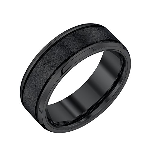 AX Jewelry Black Tungsten 8mm Textured Mens Band by AX Jewelry (Image #4)