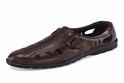 KMJBS Ausgehöhlten Schaum Schuhe Sommer Männer Sandalen Runden Kopf Business Casual Magic Aufkleber Männer Lederschuhe. brown