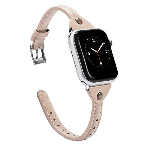 Wearlizer Beige Leather Compatible with Apple Watch Slim Leather Band 42mm 44mm iWatch Womens Mens Strap Wristband Leisure Unique Rivet Bracelet (Silver Metal Clasp) Series 4 3 2 1 Edition Sport