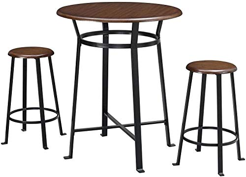 Pub Table Set 3 Piece Metal Frames Round Wooded Tops Stools Dark Mahogany Ideal for Dining Room