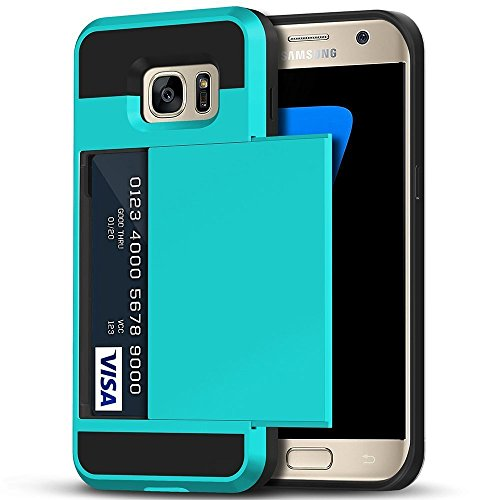 Galaxy S7 Edge Case, Anuck Slidable ID Card Slot Holder Galaxy S7 Edge Wallet Case [Credit Cards Pocket][Hard Shell] Shockproof Armor Rubber Bumper Case Cover for Samsung Galaxy S7 Edge - Light Blue