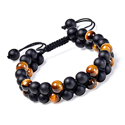 Element Bead - Startoo Lava Chakra Beads Bracelets - Adjustable Essential Oil Diffuser Handmade Braided Double Layer Bracelet with Tiger Eye, Best Gifts for Men's and Women's