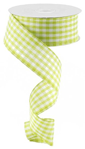 Lime Green Gingham Check Wired Edge Ribbon, 1.5