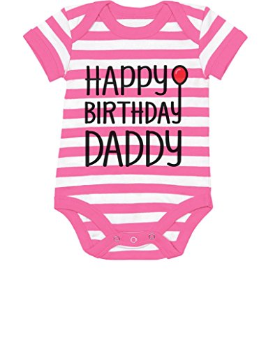 TeeStars - Happy Birthday Daddy Cute Boy/Girl Infant Dad's Gift Baby Bodysuit 6M Pink/White (Birthday Gift For Dad From Baby Girl)