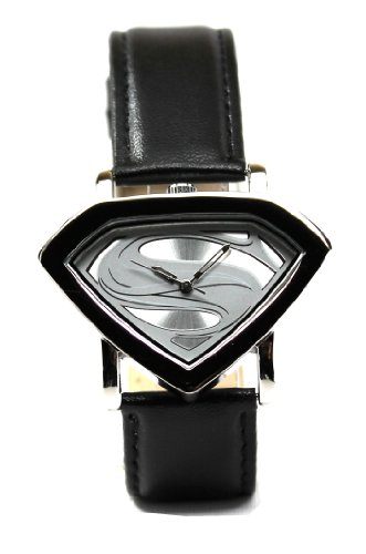 Man of Steel Superman Shield Watch - Silver - Leather Strap (MOS 5005) (Superman Silver Shield)