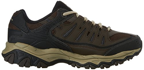 Skechers Men's AFTER BURN M.FIT Memory Foam Lace-Up Sneaker, Brown/Taupe, 9.5 4E US