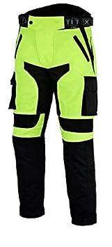 Texpeed - Herren Motorradhose mit CE-Protektoren - wasserdicht - Schwarz & Neongelb - W32 L30