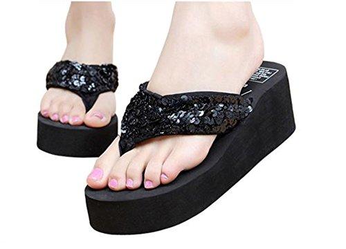 Sun Sandals Women Bubble Beach Flops Sandals Platform for Wedge Sequin Meowstyle D Black Flip t1qw6pxq5S