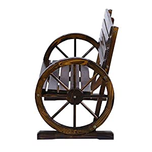 IOOkME-H Wooden Wagon Wheel Bench Patio Garden Furniture Chair for Park Home Decoration