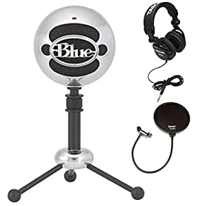 blue microphones snowball usb microphone in brushed aluminum with studio headphones. Black Bedroom Furniture Sets. Home Design Ideas