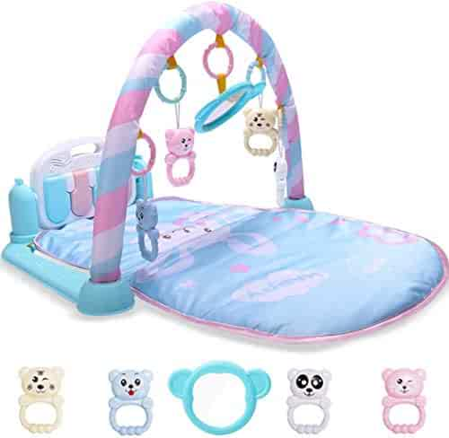 Blue Wenirn Baby Play Gym Kick and Play Mat Newborn Activity Gym Lay /& Play 3 in 1 Fitness Music and Lights Fun Piano