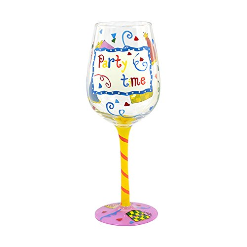 Hand Painted Party Time Wine Glass Off The Cuff