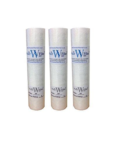 Lotto do 3 cartuccia filtro a sedimentazione a 5 micron per osmosi inversa e trattamenti di acqua di pozzo dura 25,4 cm Reverse Osmosis PP
