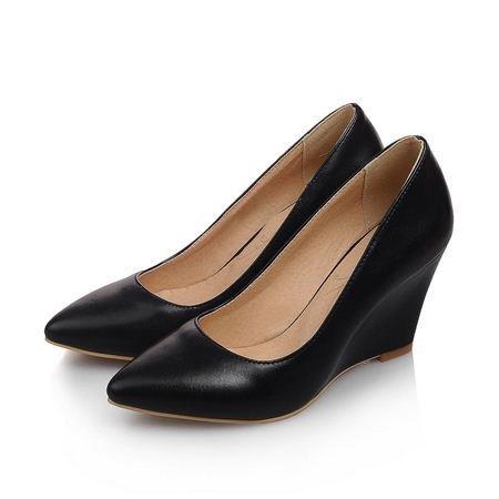 VIVIOO Tacón Alto Zapatos Cuña Puntiagudo Tacones Zapatos Altos Cuero Mujeres Bombas Fiesta Plataforma Bombas Zapatos Mujeres, Negro, 8.5 8.5|black