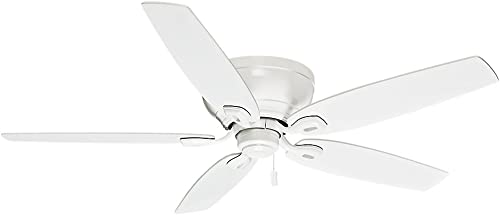 Casablanca Indoor Low Profile Ceiling Fan, with pull chain control – Durant 54 inch, White, 54103
