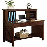 Office Star Adeline Desk and Hutch with Mocha Finish Veneer Top and Wood Frame